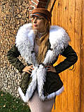 Хаки куртка парка с натуральным мехом енота на капюшоне, фото 8