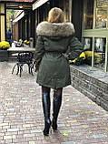Хаки куртка парка с натуральным мехом енота на капюшоне, фото 4