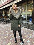 Хаки куртка парка с натуральным мехом енота на капюшоне, фото 2