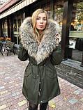 Хаки куртка парка с натуральным мехом енота на капюшоне, фото 6