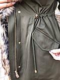 Хаки куртка парка с натуральным мехом енота на капюшоне, фото 7