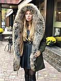 Хаки куртка парка с натуральным мехом енота на капюшоне, фото 3