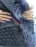 Черный бомбер парка с натуральным мехом чернобурки, фото 9