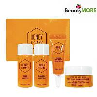 Мини-набор косметических средств с медом и керамидами Etude House Honey Cera Skin Care 4 Kit