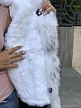 Черный бомбер парка с натуральным мехом белой арктической лисы, фото 5