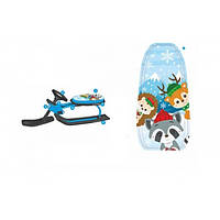 Детский снегокат  Merry Christmas Санки с рулем  107 х 49 х 38 см Мультяшные Голубые  с черным 1566