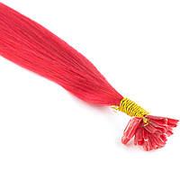 Цветная прядь натуральных волос на кератиновой капсуле для наращивания фуксия, фото 1