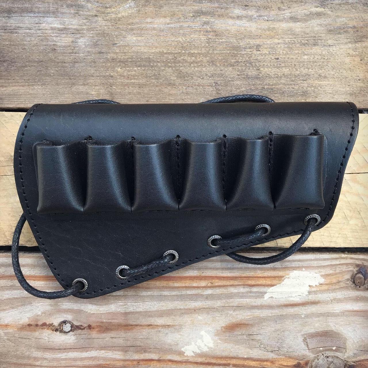 Патронташ на приклад 6 патронов гладкоствольных на шнуровке Черный (кожа)
