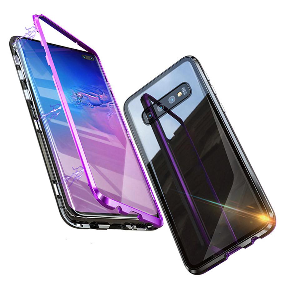 Bakeey Магнитная адсорбционная защитная Чехол Для Samsung Galaxy S10e / S10 / S10 Plus Бампер из алюминиевого сплава Закаленное стекло - 1TopShop