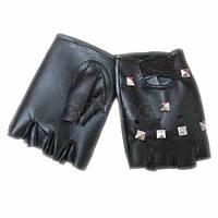 Перчатки кожаные короткие заклепками