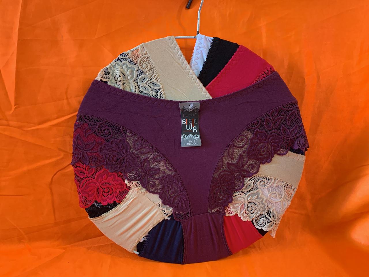 Трусы хлопок с кружевом  52-56 рр, один цвет в упаковке