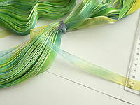 Стрічка капронова, органза, 14 мм. Меланж зелений з бірюзою. Моток 45 метрів, фото 1
