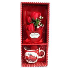 Подарочный набор букет роз в чашке Love - 203616