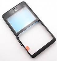 Передняя панель Nokia Asha 210 черная (оригинал)