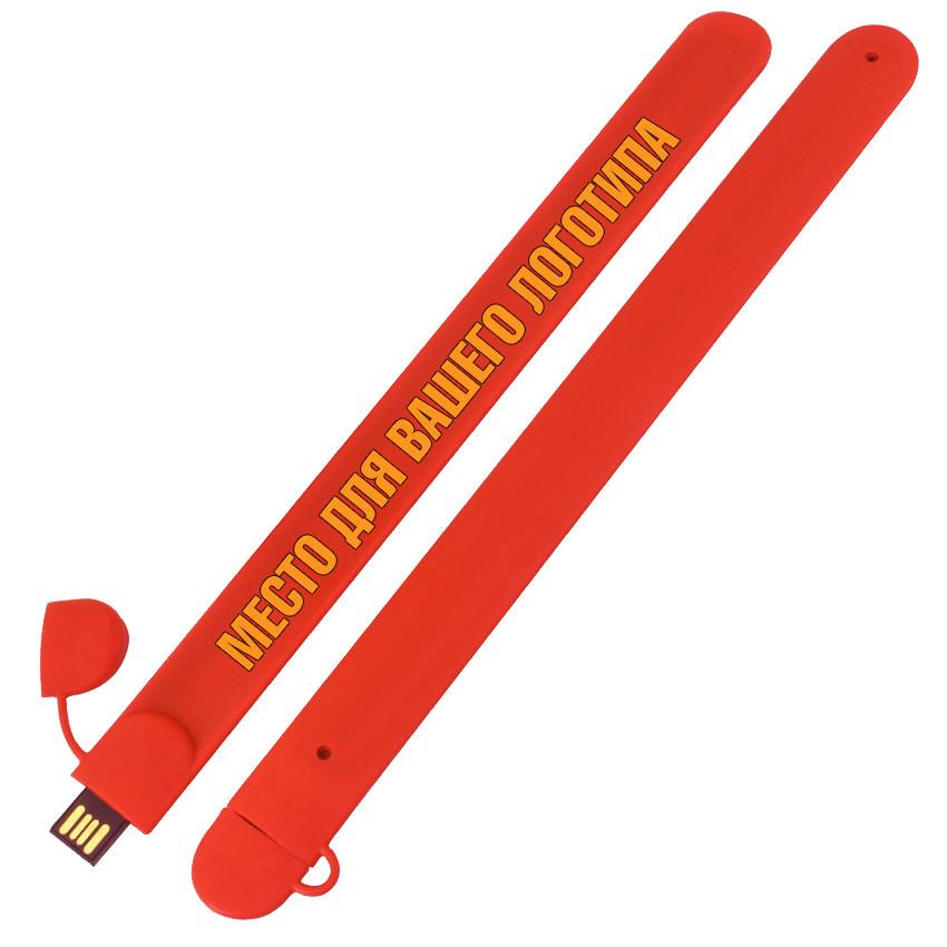 Силиконовый USB флеш-накопитель Браслет, 16ГБ, красный цвет (0993-4 16ГБ)