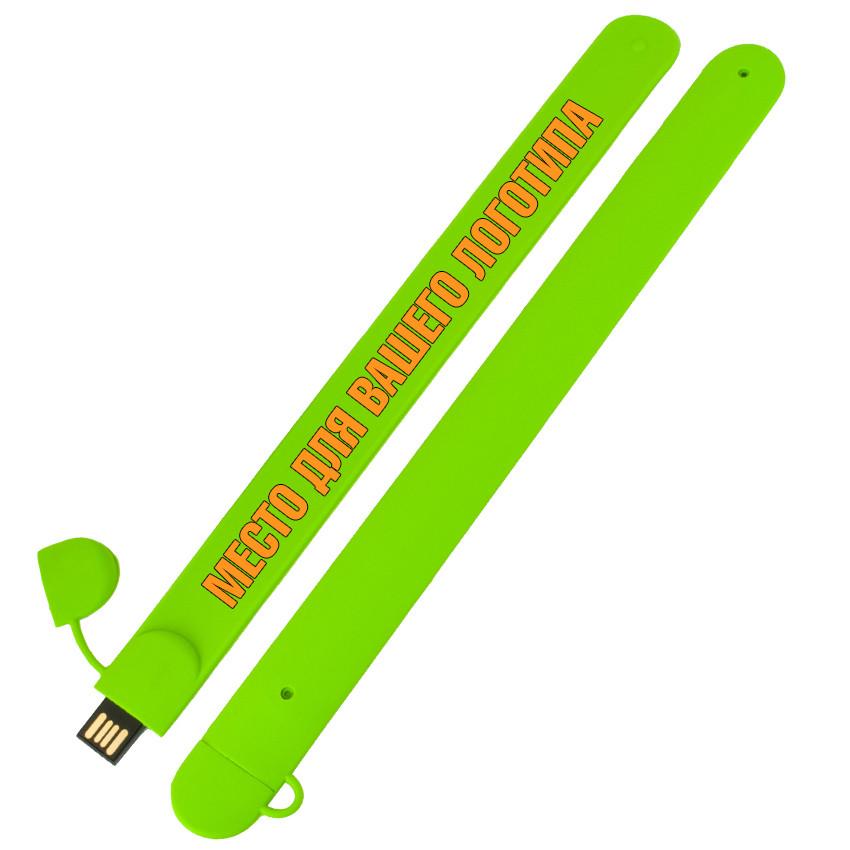 Силиконовый USB флеш-накопитель Браслет, 16ГБ, зеленый цвет (0993-5 16ГБ)