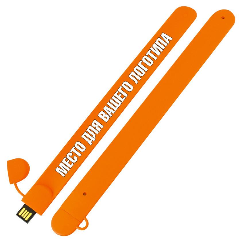 Силиконовый USB флеш-накопитель Браслет, 32ГБ, оранжевый цвет (0993-6 32ГБ)