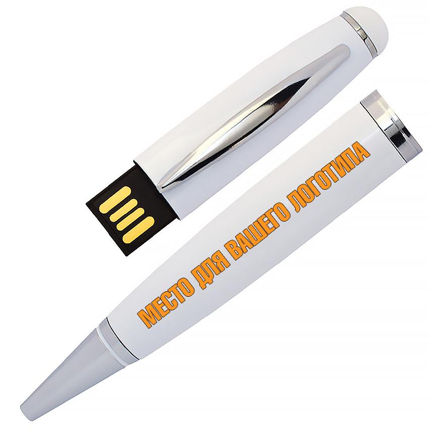 USB флеш-накопитель в виде Ручки, 64ГБ, белый цвет (1122-1 64ГБ)
