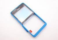 Передняя панель Nokia Asha 210 голубая (оригинал)