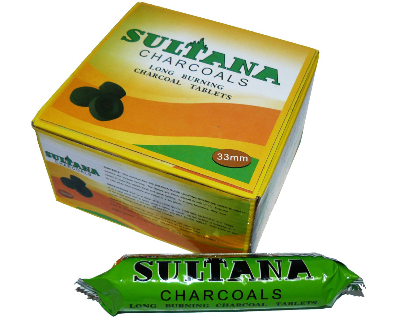 Уголь для кальяна Sultana диаметр 3,3 см (10 таблеток)