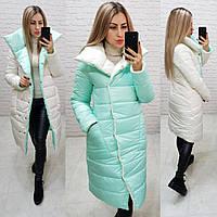 Куртка женская двухсторонняя осень-весна, мята+белый