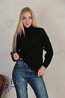 """Женский вязаный свитер под горло""""Soft"""" черный"""