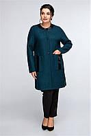 Полу пальто трикотажное с вставками из эко-кожи Алла р. 50-56 синий