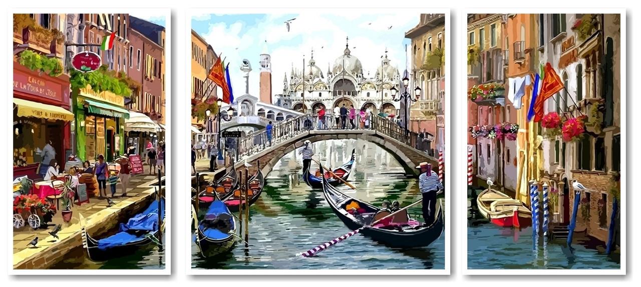 Картины по номерам 50х120 см. Триптих Венеция во всей красе