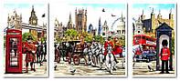Картины по номерам 50х110 см. Триптих Лондон столица Англии и Соединенного Королевства, фото 1