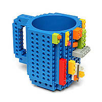 Детская чашка Build On для игры с Lego   Кружка конструктор для Лего Синяя