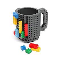 Детская чашка Build On для игры с Lego | Кружка конструктор для Лего Серая