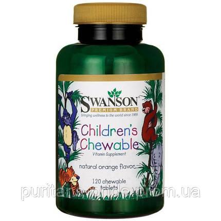 Вітаміни для дітей, Swanson children's Chewable Multivitamin 120 шт, фото 2