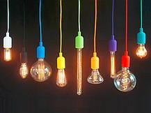 Підвісний фіолетовий пластиковий світильник з цоколем під лампу E27 Lemanso LMA074, фото 3