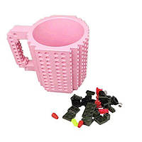 Детская чашка Build On для игры с Lego | Кружка конструктор для Лего Светло-Розовая