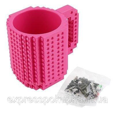 Детская чашка Build On для игры с Lego | Кружка конструктор для Лего Розовая