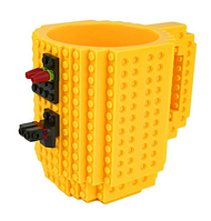 Детская чашка Build On для игры с Lego | Кружка конструктор для Лего Желтая