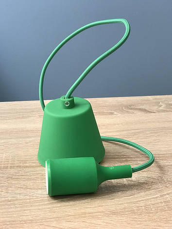 Підвісний зелений пластиковий світильник з цоколем під лампу E27 Lemanso LMA074, фото 2