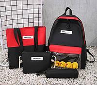 Модный большой тканевый набор 4в1 с уточками Рюкзак, сумка, косметичка, пенал