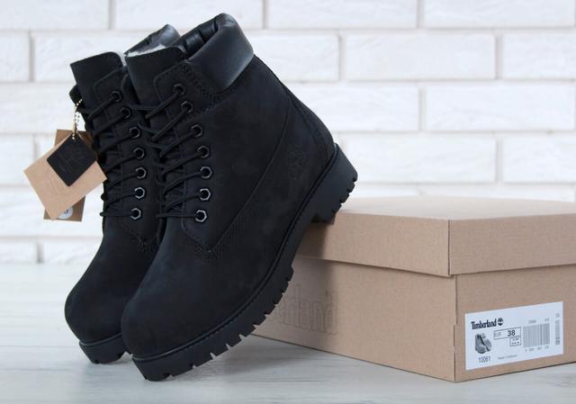 Ботинки Тимберленд черного цвета на шерстяном меху фото