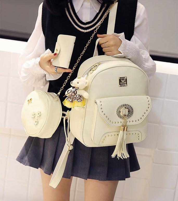 Модный женский набор оригинально дизайна 3в1 Рюкзак, круглая сумочка, визитница