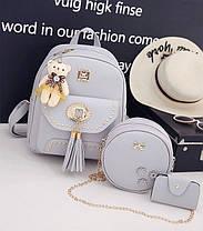 Модный женский набор оригинально дизайна 3в1 Рюкзак, круглая сумочка, визитница, фото 3