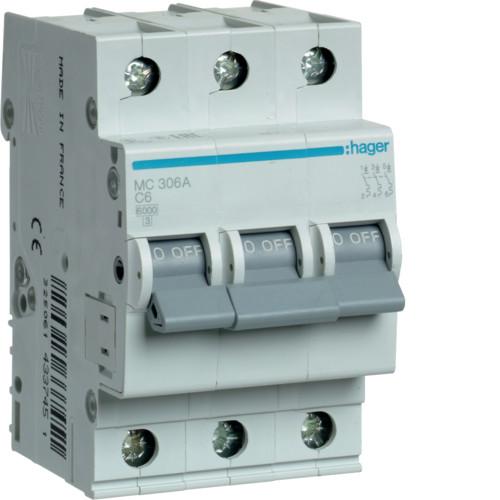 Автоматический выключатель Hager 3P 6kA C-6A 3M (MC306A)