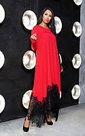 Длинное вечернее свободное платье из вискозы + дорогое кружево, длинный рукав  (44-54), фото 1