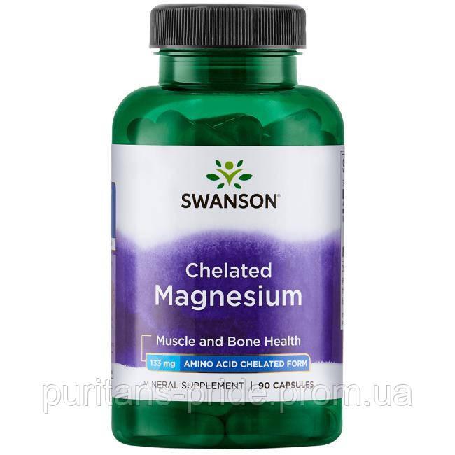 Магний хелат, Swanson chelated magnesium 90 capsules