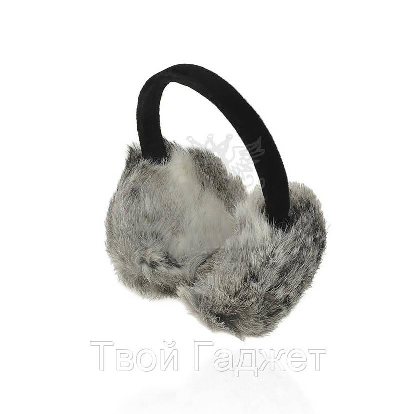 Наушники из натурального меха кролика с велюровым обручем