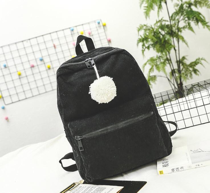 Оригинальный вельветовый рюкзак с помпоном