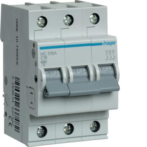 Автоматический выключатель Hager 3P 6kA C-16A 3M (MC316A)