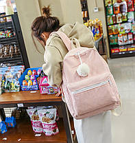 Оригинальный вельветовый рюкзак с помпоном, фото 3