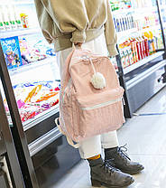 Оригинальный вельветовый рюкзак с помпоном, фото 2