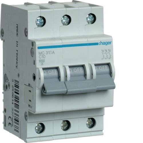 Автоматический выключатель Hager 3P 6kA C-13A 3M (MC313A)